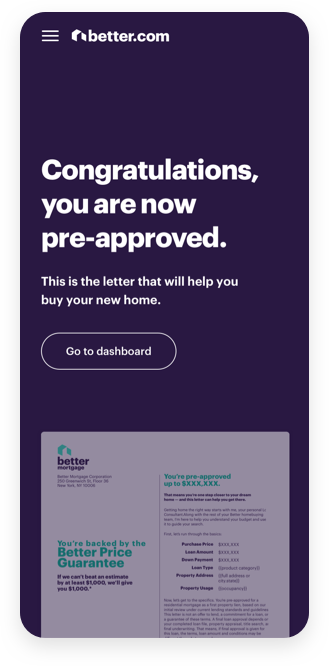 Better Mortgage Pre-Approval on Mobile Device