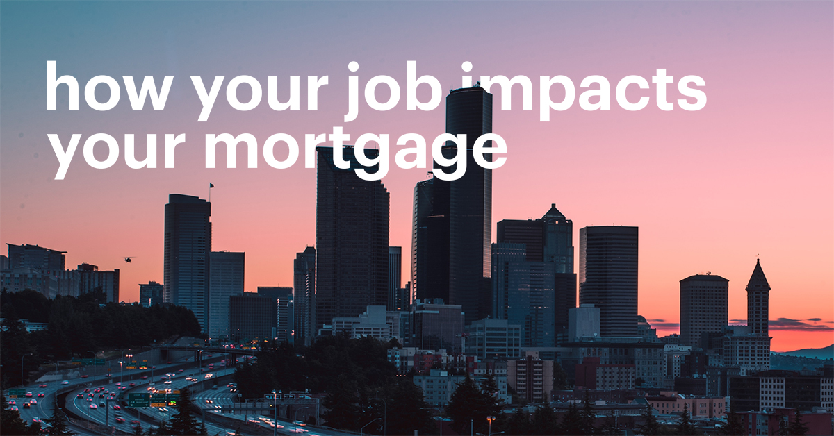 Image of Sunset Night City Sky That Reads: How Your Job Impacts Your Mortgage