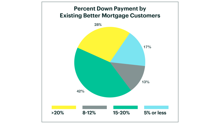 Graphic of Pie Chart Describing Percent Down By Existing Better Mortgage Customers