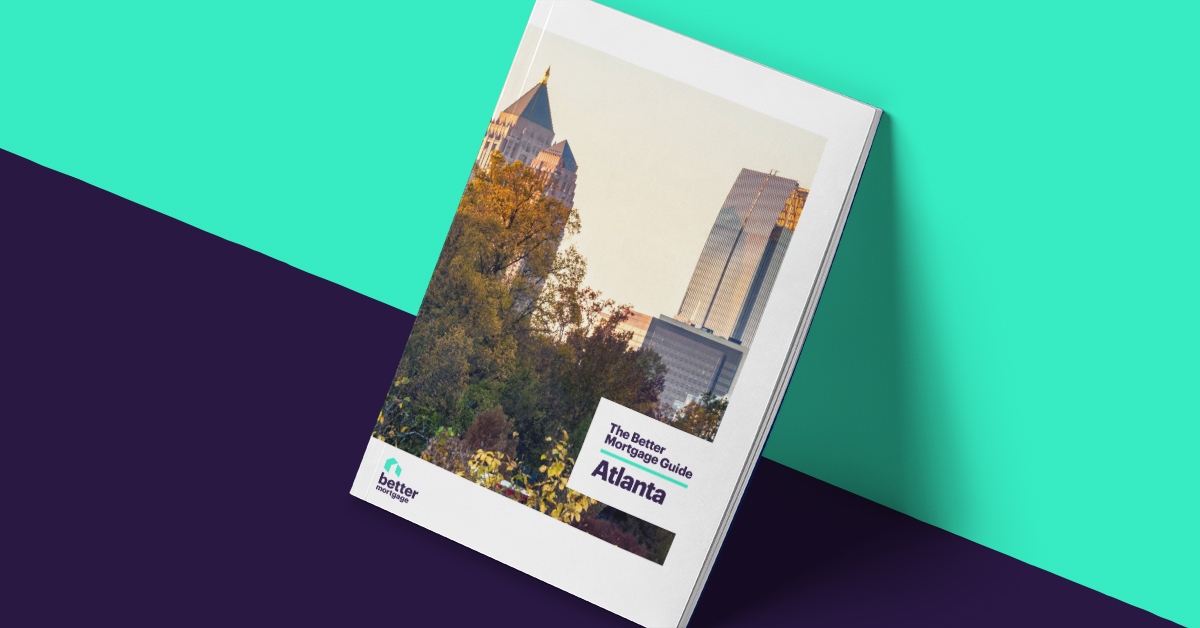 Image of a Better Mortgage Guide to Atlanta Book Against a Green and Dark Purple Wall