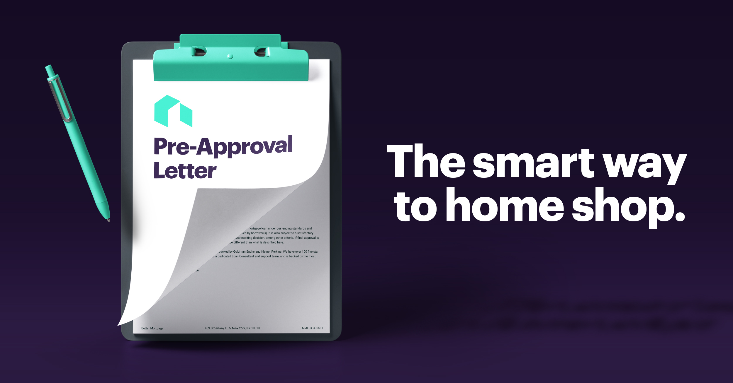 "Graphic of Clipboard with Pen and Clipped Paper That Reads ""Pre Approval Letter"" Beside Text That Reads ""The Smart Way to Home Shop"""