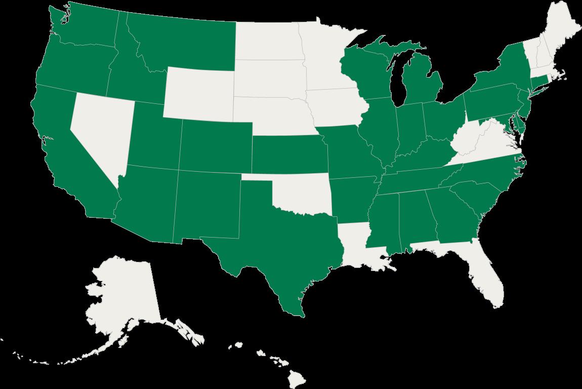 We are active in Alabama, Arizona, Arkansas, California, Colorado, Delaware, Georgia, Idaho, Illinois, Indiana, Kansas, Kentucky, Maryland, Mississippi, Missouri, Montana, Nebreska, New Jersey, New Mexico, North Carolina, Ohio, Oregon, Pennsylvania, South Carolina, Tennessee, Texas, Utah, Washington, Wisconsin