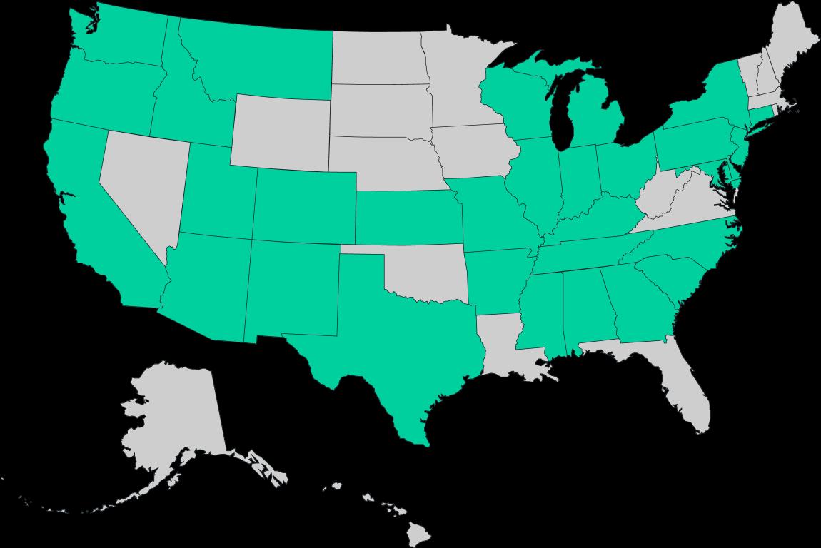 We are active in Alabama, Arizona, California, Colorado, Georgia, Illinois, Indiana, Kentucky, Maryland, Mississippi, Missouri, Montana, Nebreska, New Jersey, New Mexico, Ohio, Pennsylvania, South Carolina, Tennessee, Texas, Utah, Washington, Wisconsin