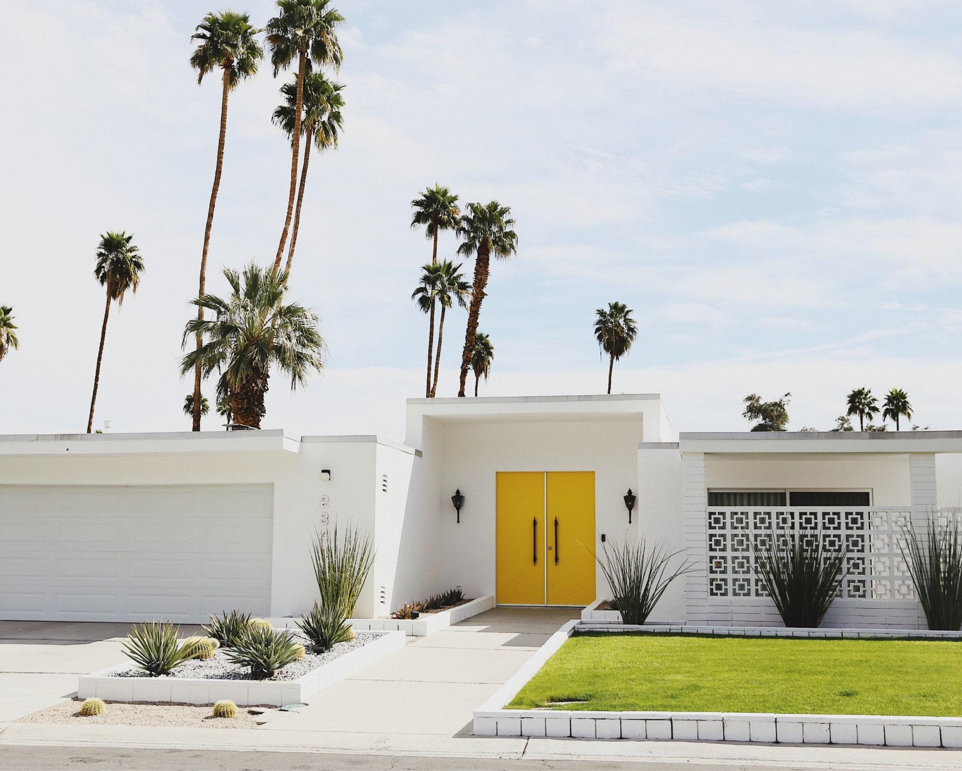 House with yellow door